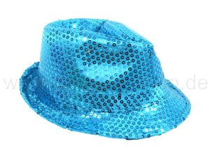 Trilby hat LED with sequins light blue turquoise