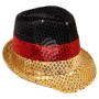 Trilby hat black red gold