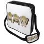 Messenger Bag Motif 3 Monkeys brown/white