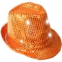 Trilby hat LED with sequins orange