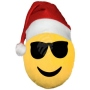 Christmas hat Emoticon Emoji-Con pillow cool yellow
