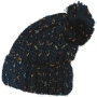 Knitted cap and colorful speckles with bobble blue
