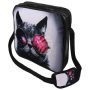 Messenger Bag Motif Cat with glasses gray/pink
